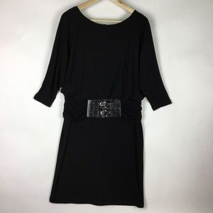 ADRIANNA PAPPELL BLACK KNIT STRETCH DRESS